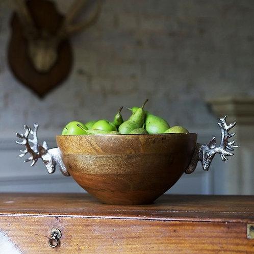 Huntsman Large Stag Head Wooden Bowl