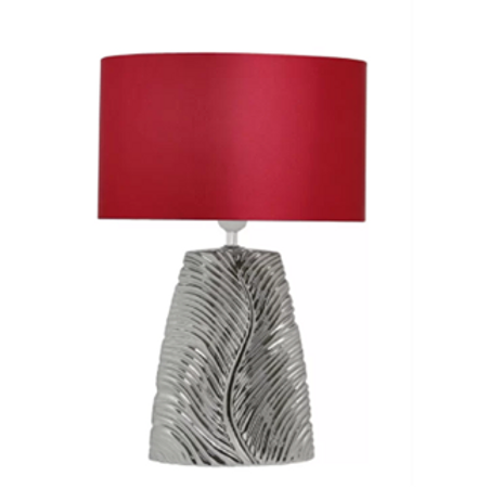 Chrome Lamp & Red Satin Silk Shade