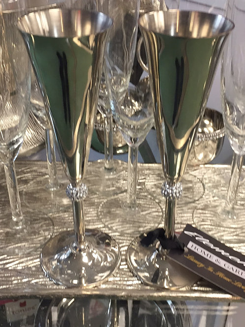 Pair of Champagne Crystal Flutes