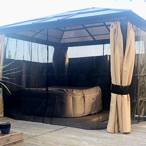 ALL SEASONS BEIGE  3 x 3.6 SOLID ROOF PERMANENT GAZEBO with Led Light