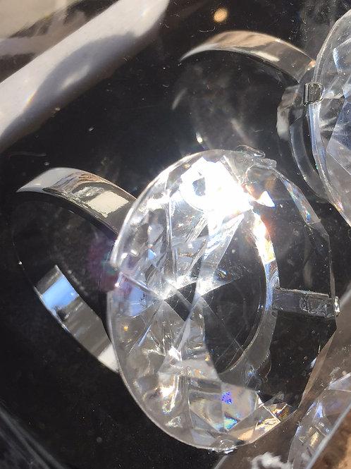 4 Clear Diamanté Napkin Holders