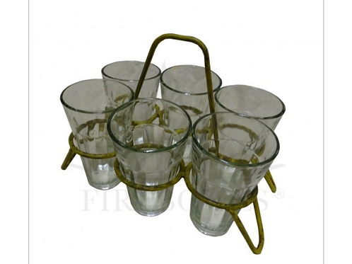 SET OF 6 or 8 CHAI GLASSES IN CARRIER