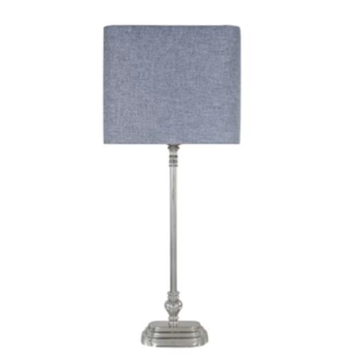 Nickel Lamp & Coloured Linen Shades 74cm