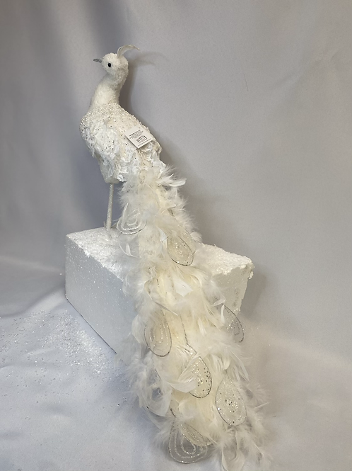 Embellished long tail white peacock