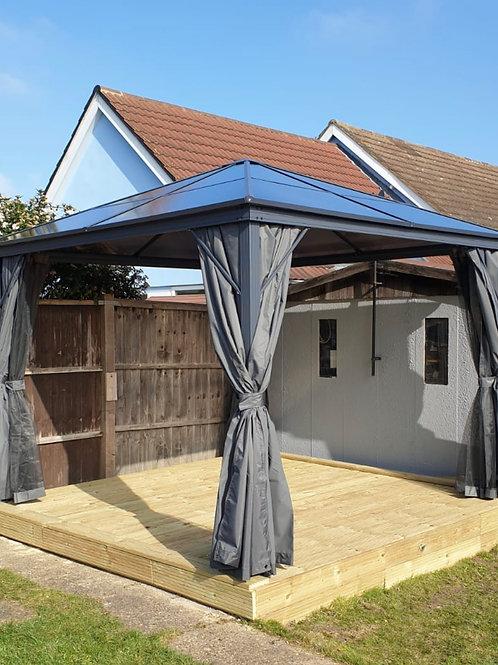 3m x 3m  Grey Four Seasons Polycarbonate Roof Gazebo