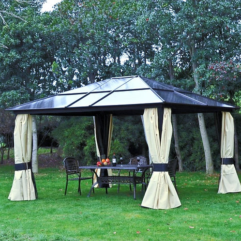 All SEASONS 3.6 - 4.3 BEIGE SOLID ROOF PERMANENT GAZEBO