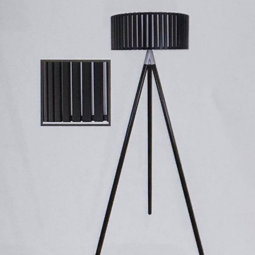 Tripod Lamp with Wooden Barrel Shade