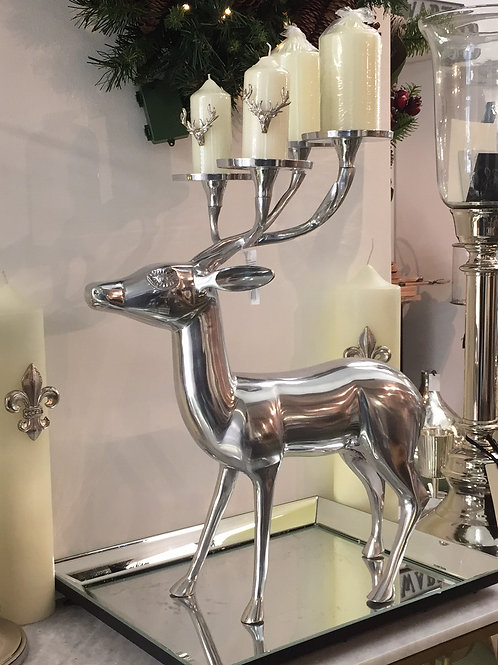 Large Silver Stag with Candle Holder Antlers