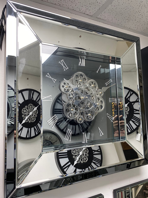 Mirror Wall clock with gears 60cm x 60cm smoked back