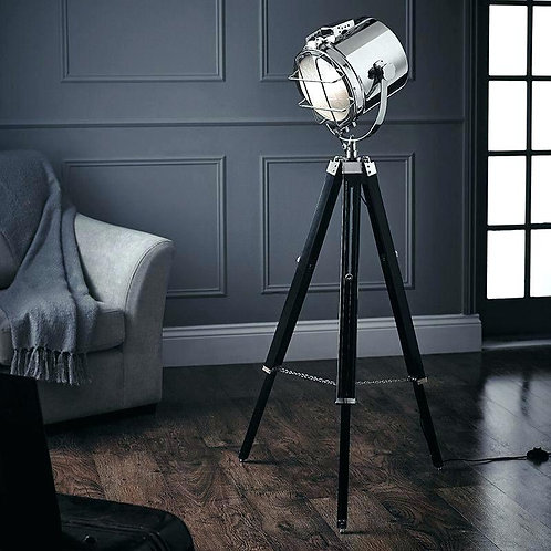 Grey Floor Lamp with Studio Light Style Shade