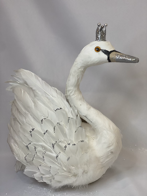 White glitter swan with crown