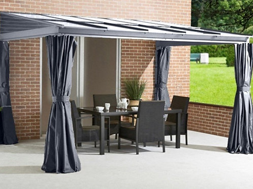 WALL MOUNTED   POLYCARBONATE GAZEBO - AWNING 3x3.6 Grey