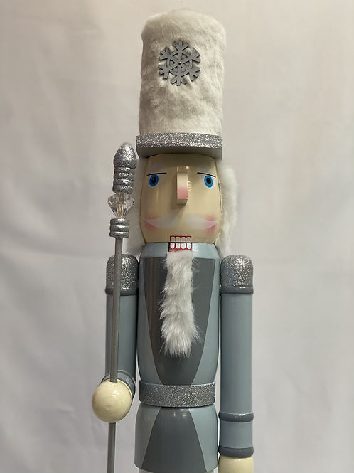 Large fur boot nutcracker with staff