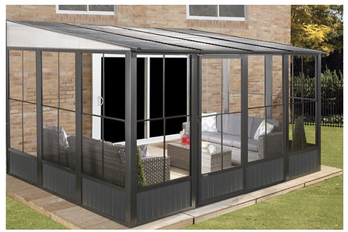 Knightsbridge Deluxe 3x3m Enclosed Wall Canopy with Galvanized Roof and Sides