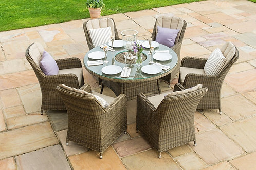 Winchester 6 Seat Round Ice Bucket Dining Set with Venice Chairs