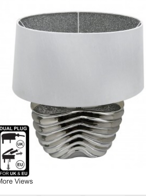 Chrome Ribbed Oval Base Table Lamp With White Linen Shade