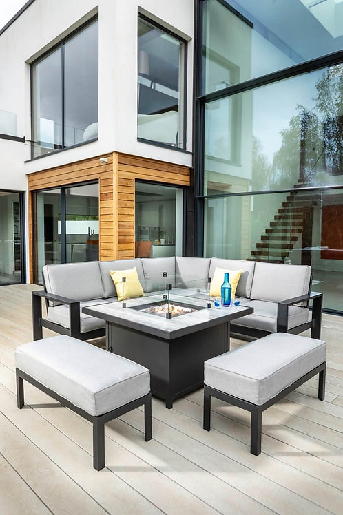 Atlas Square Casual Dining Set With Gas Fire Pit