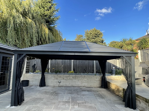 Medusa 12x16 Galvanized Roof with Curtain Sides