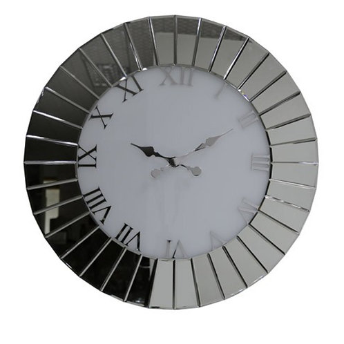 Modern Round Fan Effect Mirrored Wall Clock