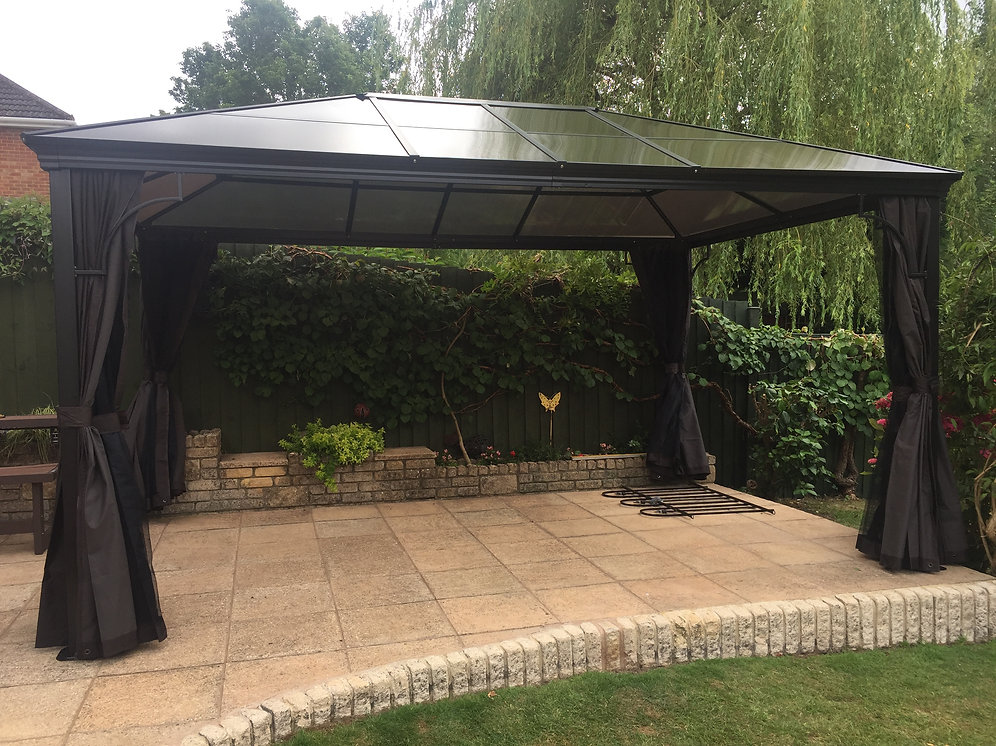 3x4 3 deluxe polycarbonate roof gazebo hot tub canopy meredew stores