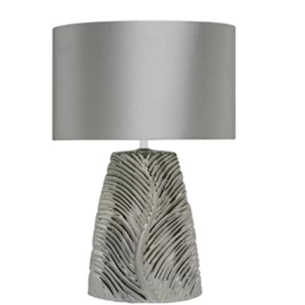Chrome Ceramic Lamp & Silver Satin Shade