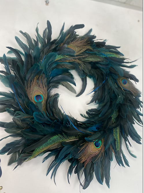 "18"" Peacock feather wreath"