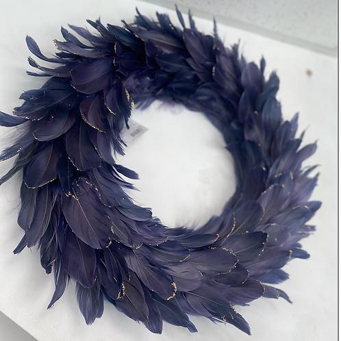 "18"" Navy feather wreath"