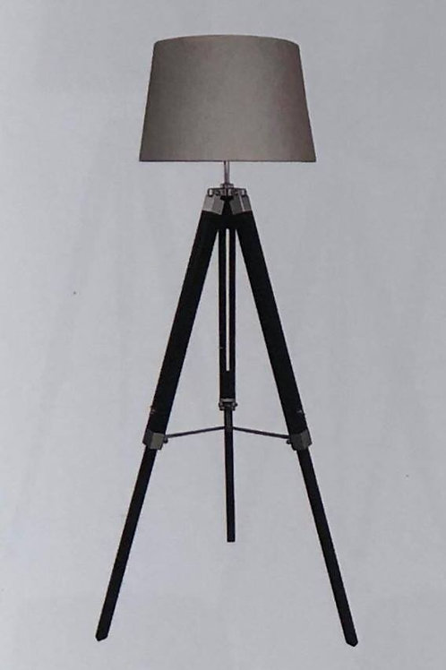 Black Floor Lamp with Coloured Linen Shade