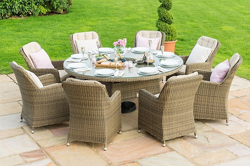 Winchester 8 Seat Round Ice Bucket Dining Set with Venice Chairs and Lazy Susan