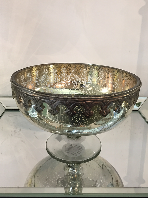 Large Antique Silver Decorative Bowl