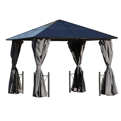 Kensington 3x3m Grey Solid Roof Permanent Shade Gazebo/Hot Tub Cover