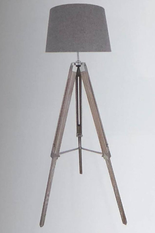 Large Grey Tripod Lamp with Linen Shade