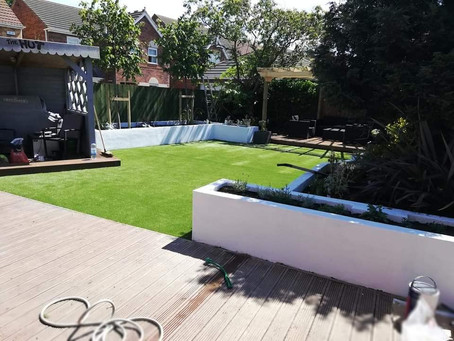 Artificial lawn and landscaping in Redcar