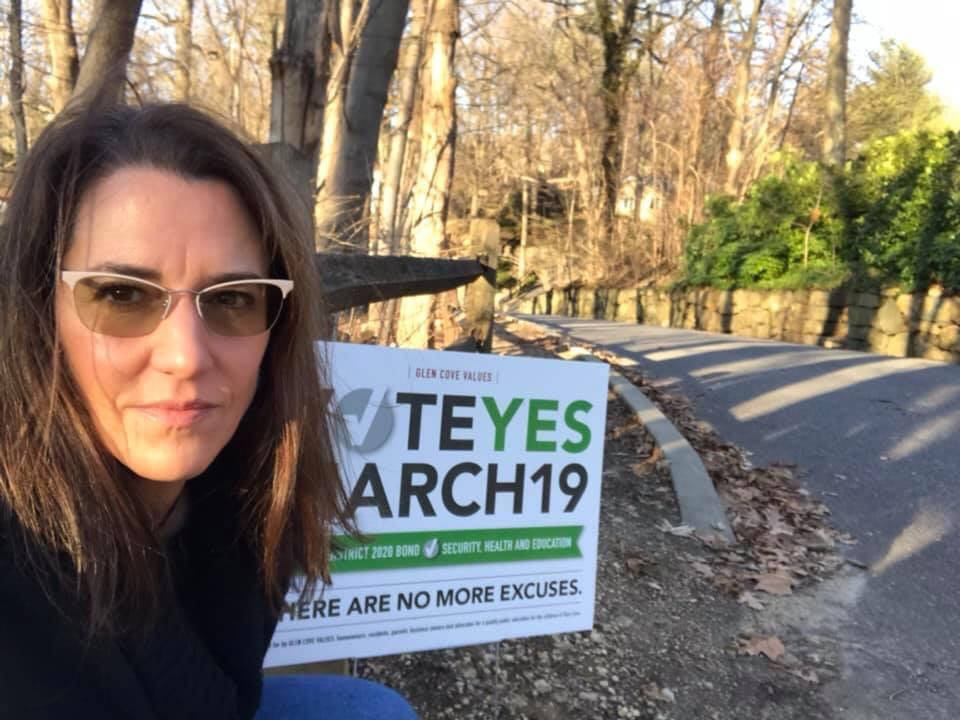 Campaigning for the Glen Cove City School District Bond in 2020