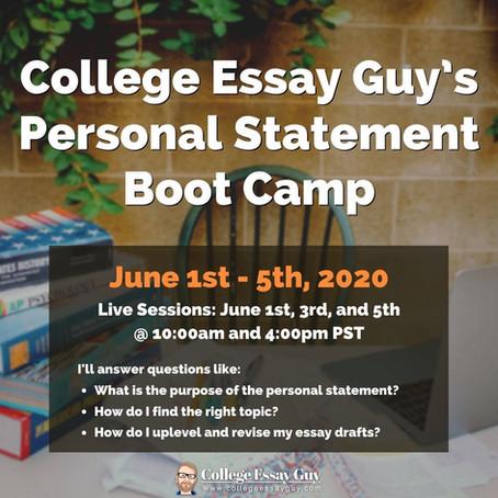 FREE College Essay Boot Camp NEXT WEEK!