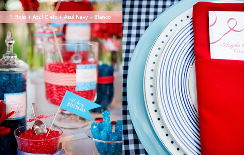 Paleta de colores: Rojo + Azul Cielo +Azul Navy + Blanco