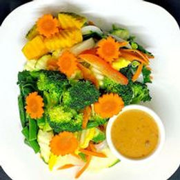 steamed vegetables with peanut sauce 202
