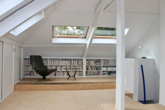 transformation of an attic into a master bedroom and office