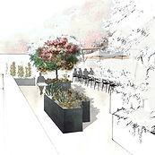 Une terrasse conviale pour les salariés, discuter, déjeuner, cultiver