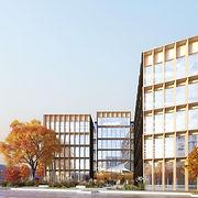 Immeubles e bureaux à ossature bois, jarin de pluie , place bancs béton et végétation
