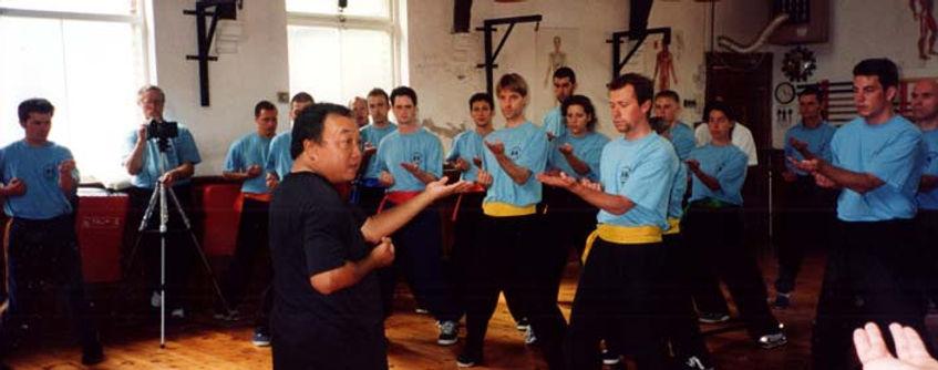 wing chun Sifu Augustine Fong teaching students at Temple Gym, Torquay - 1999