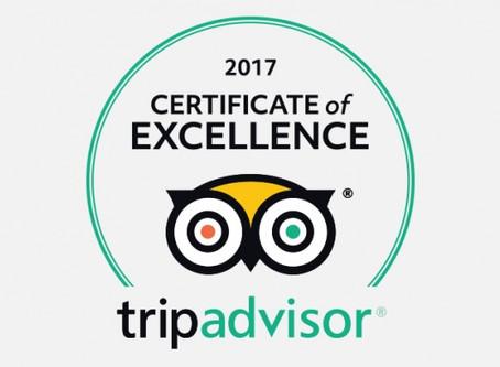 TripAdvisors 2017 Certificate of Excellence! Woohoo!