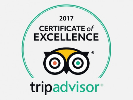 TripAdvisors 2017 Certificate of Excellence! Woohoo!