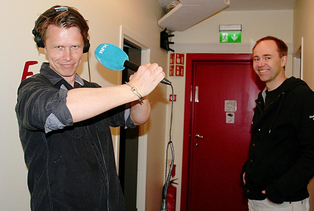 """Øyvind og Hogne rett før """"live"""" opptak"""