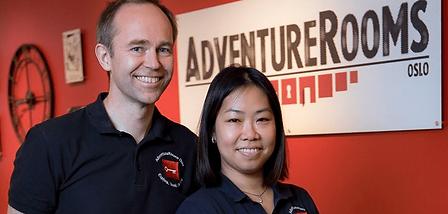 Hogne Kavlie og Sharon Lai, eiere av AdventureRooms Oslo