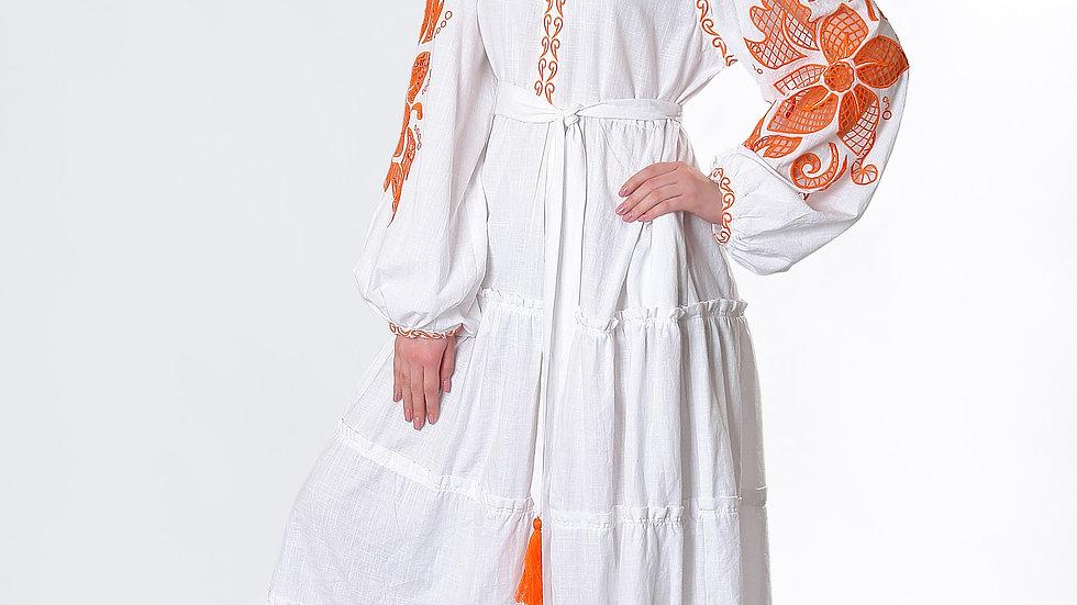 """Сукня  """"Дивоквітка"""" біла максі"""