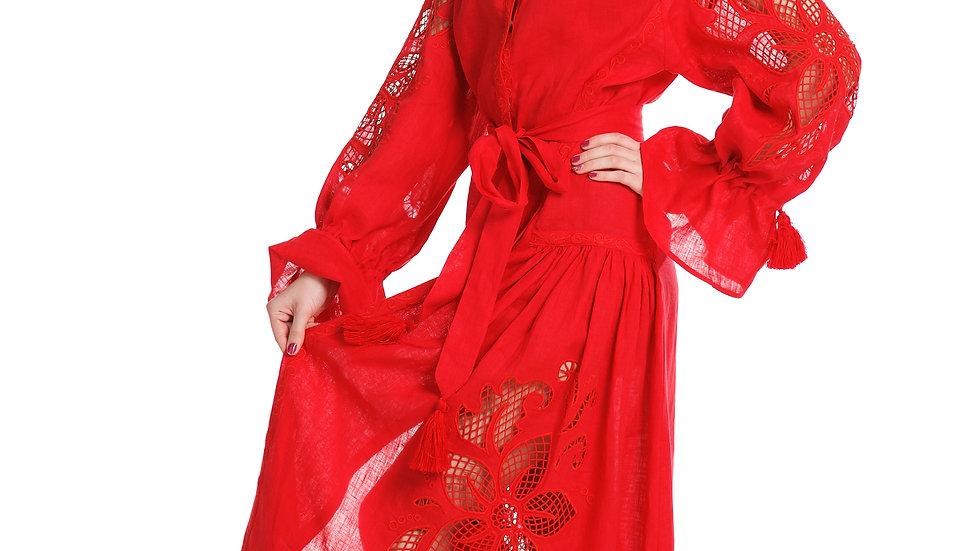 """Сукня """"Дивоквітка"""" міді червона з клинами"""