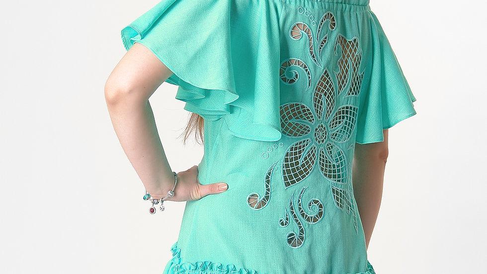 """Сукня  """"Дивоквітка"""" зелена міні"""