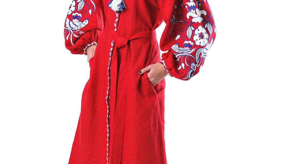 """Сукня вишита """"Птахи"""" максі  пряма червона"""