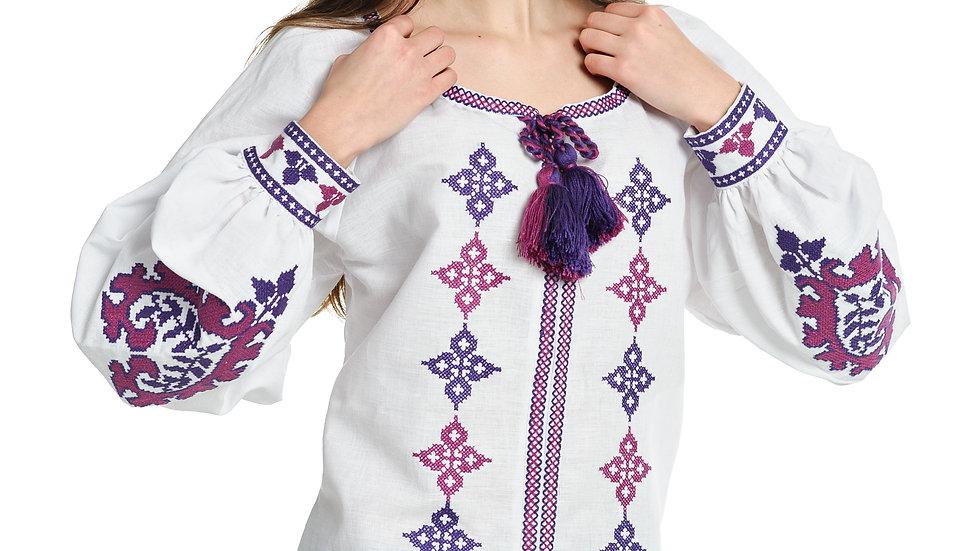 """Блузка """"Серця"""" з манжетами біла"""